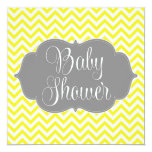 Modern Chevron Gray Yellow Baby Shower Personalized Invitations