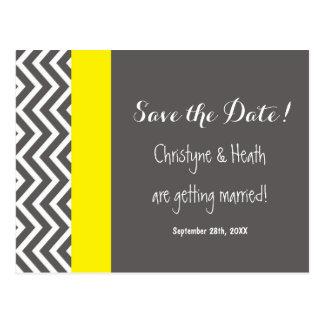 Modern Chevron Gray & Yellow Save Date Postcard