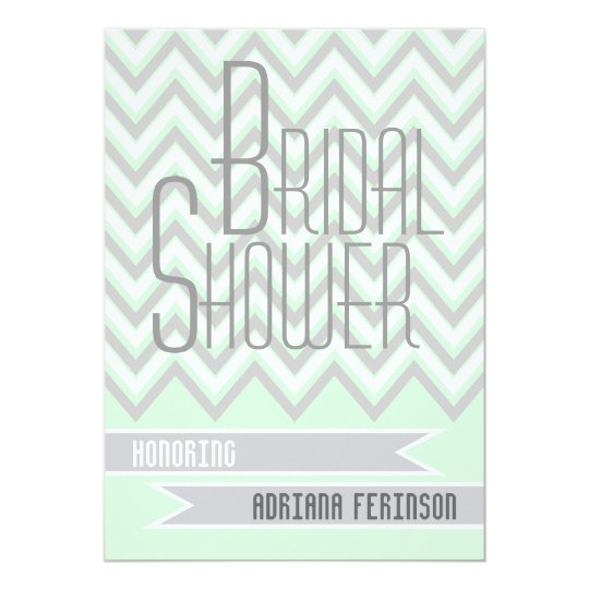 Modern chevron grey, mint wedding bridal shower card