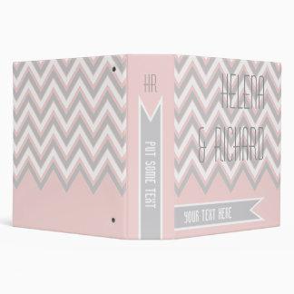 Modern chevron grey, pink wedding planner binder