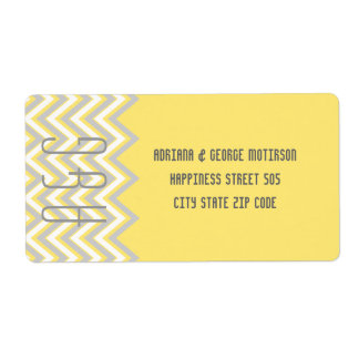 Modern chevron grey, yellow wedding label