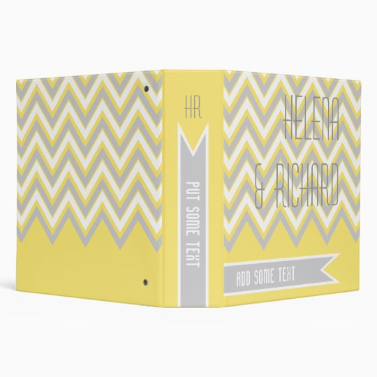 Modern chevron grey, yellow wedding planner 3 ring binder
