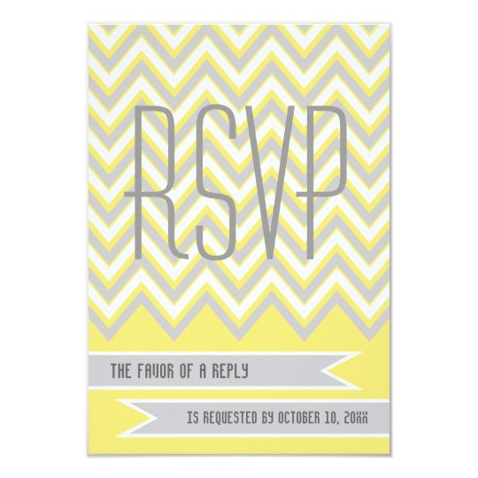 Modern chevron grey, yellow wedding RSVP Card