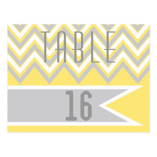 Modern chevron grey, yellow wedding table number postcard