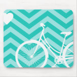 Modern Chevron Heart and Bicycle Mousepad