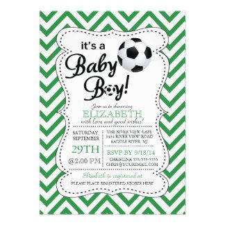 Modern Chevron It s a Baby Boy Soccer Baby Shower Invitation