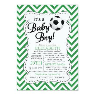 Modern Chevron It's a Baby Boy Soccer Baby Shower Card