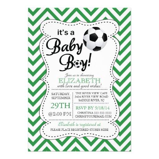 Modern Chevron It's A Baby Boy Soccer Baby Shower 5x7 Paper Invitation Card