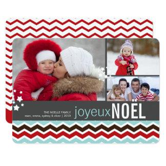Modern Chevron Joyeux Noel Star Holiday Photo Card