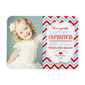 Modern Chevron Merry Christmas Photo Magnet