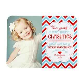Modern Chevron Merry Christmas Photo Vinyl Magnet