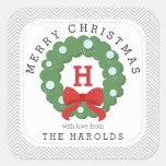 Modern Chevron Merry Christmas Wreath Monogrammed Square Sticker