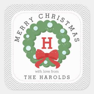Modern Chevron Merry Christmas Wreath Monogrammed Square Stickers