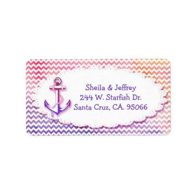 Modern Chevron Nautical Wedding Label