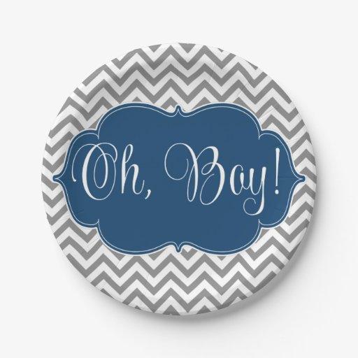 modern chevron navy blue gray boy baby shower 7 inch paper plate zazzle. Black Bedroom Furniture Sets. Home Design Ideas