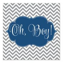 Modern Chevron Navy Blue Gray Boy Baby Shower Card