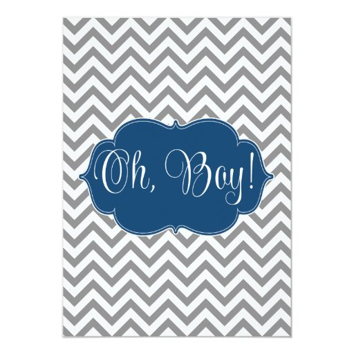 Baby Shower Themes Chevron ~ Modern chevron navy blue gray boy baby shower card zazzle