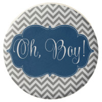 Modern Chevron Navy Blue Gray Boy Baby Shower Chocolate Covered Oreo
