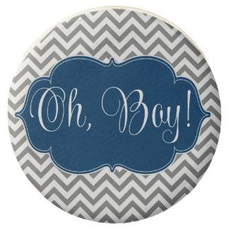 Modern Chevron Navy Blue Gray Boy Baby Shower Chocolate Covered Oreo