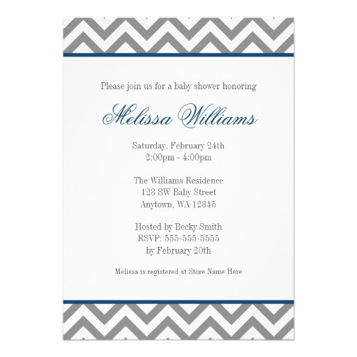 Modern Chevron Navy Blue Gray Boy Baby Shower Personalized Announcement (back side)
