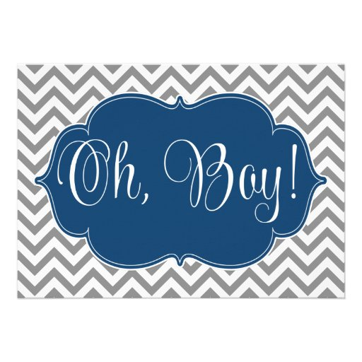 Modern Chevron Navy Blue Gray Boy Baby Shower Personalized Announcement (front side)
