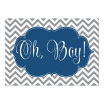 Modern Chevron Navy Blue Gray Boy Baby Shower Personalized Announcement