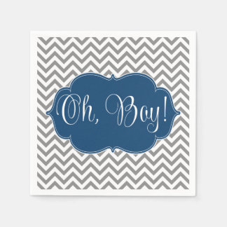 Modern Chevron Navy Blue Gray Boy Baby Shower Paper Napkin