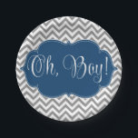 "Modern Chevron Navy Blue Gray Boy Baby Shower Paper Plate<br><div class=""desc"">A chic gray chevron pattern with a blue frame is featured on this modern baby shower paper plate. Perfect for a boy baby shower. Preppy and cute. Matching items available.</div>"