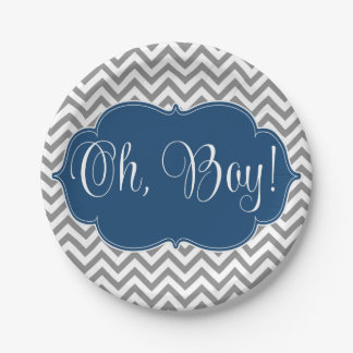 Modern Chevron Navy Blue Gray Boy Baby Shower Paper Plate