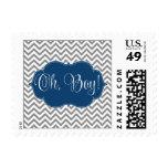 Modern Chevron Navy Blue Gray Boy Baby Shower Stamp