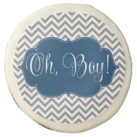 Modern Chevron Navy Blue Gray Boy Baby Shower Sugar Cookie