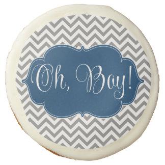 Modern Chevron Navy Blue Gray Boy Baby Shower Sugar Cookie