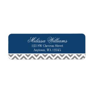 Modern Chevron Navy Blue Gray Label