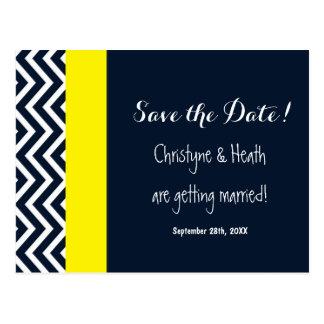 Modern Chevron Navy Blue Yellow Save Date Postcard
