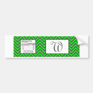 Modern Chevron Neon Green/Grey Water Bottle Label