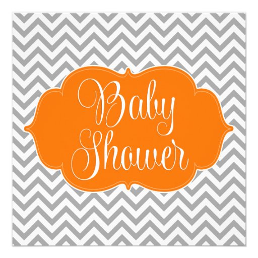 Modern Chevron Orange Gray Baby Shower Invitation
