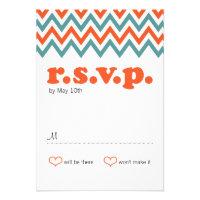 Modern Chevron (Orange & Teal) RSVP Personalized Invite