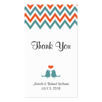 Modern Chevron (Orange Teal) Thank You Favor Tag Business Card