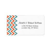 Modern Chevron (Orange & Teal) Wedding Address Address Label