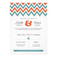 Modern Chevron (Orange & Teal) Wedding Custom Announcements