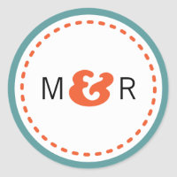 Modern Chevron (Orange & Teal) Wedding Monogram Stickers