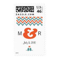 Modern Chevron (Orange & Teal) Wedding Stamp