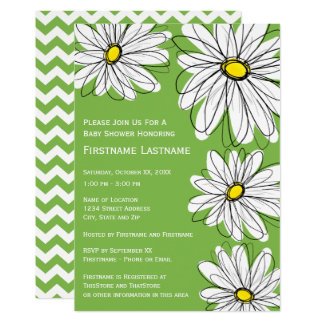 Modern Chevron pattern and daisy Baby Girl Shower Card