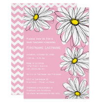 Modern Chevron pattern and daisy Baby Girl Shower Invitation