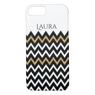 Modern Chevron Pattern Black White & Gold iPhone 7 Case