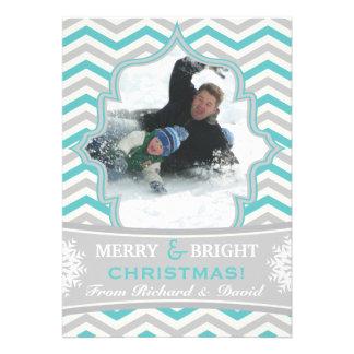 Modern chevron pattern Christmas flat photo card Personalized Invitation