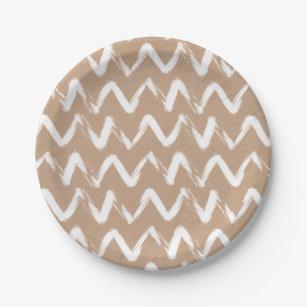 Modern chevron pattern faux brown kraft paper paper plate  sc 1 st  Zazzle & Brown Chevron Plates | Zazzle