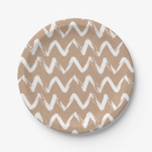 Modern chevron pattern faux brown kraft paper paper plate  sc 1 st  Zazzle & Kraft Plates | Zazzle