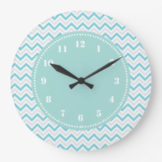 Modern Chevron Pattern Girly Aqua Blue Large Clock