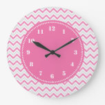 Modern Chevron Pattern Girly Pink Wall Clocks